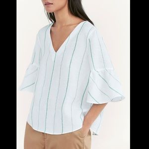 Massimo Dutti striped linen blouse w bell sleeves